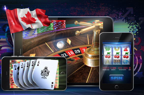 picture symbolizing gambling in canada: canadian flag, a deck of cards, a laptop and a smartphone with casino games displayed on the screens