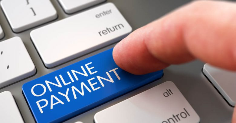 payments - button with online payment on a keyboard