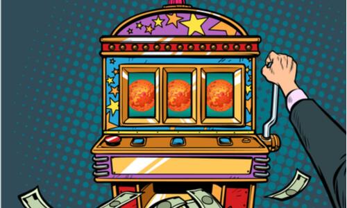 science Mars exploration prize slot machine. Pop art retro vector illustration vintage kitsch