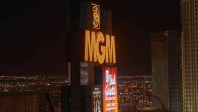 MGM Hotel Las Vegas at night - LAS VEGAS-NEVADA - OCTOBER 11, 2017