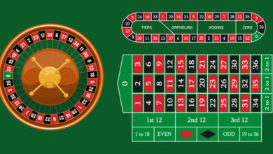 European roulette placed on green surface with a classic betting grid. Red & Black Betting casino squares. Casino gambling. Gamble game in online casino. Classic casino roulette and green table.