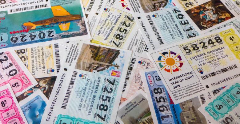 MADRID, SPAIN - MARCH 29, 2016: Spanish national lottery receipts. National lottery is known in Spain as Loteria Nacional and is promoted for loterias y apuestas del estado