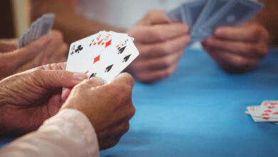 card games Retired people playing card in a retirement home