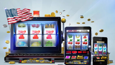 Gambling concept image suggesting the idea of playing on smartphones, tablets or laptops the online versions of video slots games on offer at United States-based casino sites. 3D Rendered Illustration