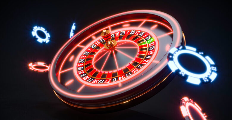 3 D concept of an online roulette wheel suspended on black background
