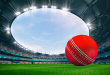cricket betting: Magnificent outdoor stadium with a cricket ball on the green lawn of the field with spectators on the stands. Professional world sport 3D illustration background.