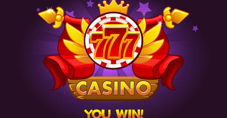 progressive slot win Casino awards 777. Casino rating icons with poker chip and ribbon. Illustration for casino, slots and game UI.