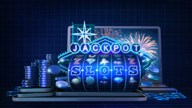 Abstract gambling concept image for online casinos offering for play slot games with progressive jackpots feature. 3D illustration showing, in wireframe style, casino game elements